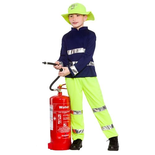 Childrens Boys Fireman Rescue Costume for Fireman Firefighter Fire Fancy Dress